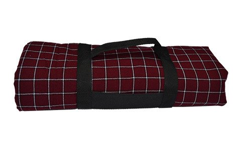 maroon_and_white_picnic_blanket_with_carry_handle