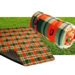Green orange check fleece lining