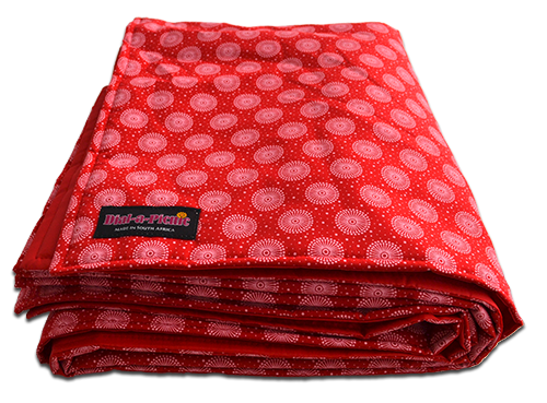 red_shweshwe_padded_picnic_folded